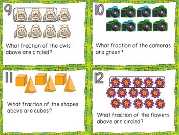 Identifying & Naming Fractions Task Cards