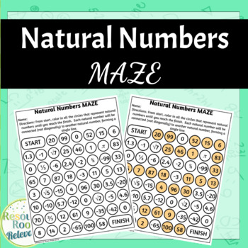 Identifying Natural Numbers Maze Activity