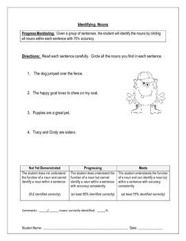 Identifying Nouns 1 - IEP Goal Progress Monitoring