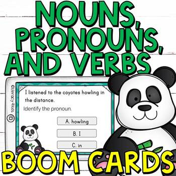Identifying Nouns, Pronouns, and Verbs Boom Cards (Digital Task Cards)