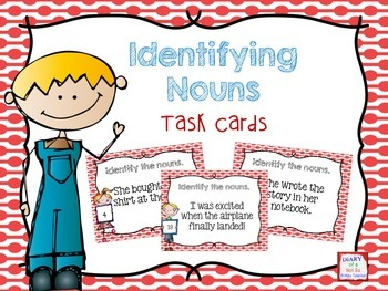 Identifying Nouns Task Cards- Color & B&W
