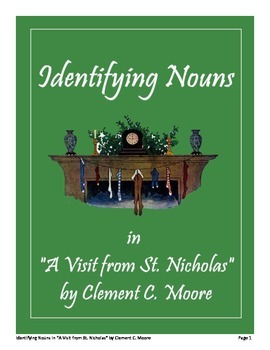 "Identifying Nouns in ""A Visit from St. Nicholas"" by Clement C. Moore FREE"