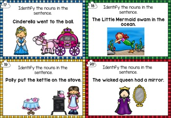 Identifying Nouns in Fairytales and Nursery Rhymes Task Cards
