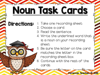Identifying Nouns in a Sentence
