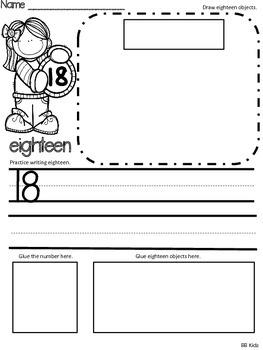 Identifying Numbers 11-20 / Kindergarten/ Math Worksheets