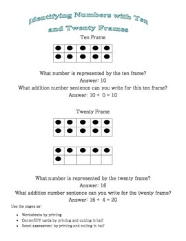 Identifying Numbers with Ten and Twenty Frames for Centers, DIY's, and Daily 5