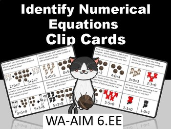 Cats! Identifying Numerical Equations - Test Prep WA-AIM 6.EE