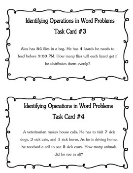 Identifying Operations in Word Problems Task Cards