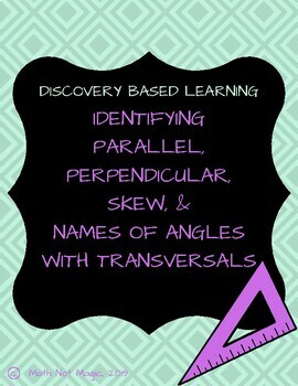 Identifying Parallel, Perpendicular, Skew, and Names of Angles with Transversals