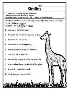 Identifying Parts of Similes Worksheet Similes Practice Similes Activity #2