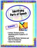 Identifying Parts of Speech Activity Handouts: Sentences, Chart, & Key