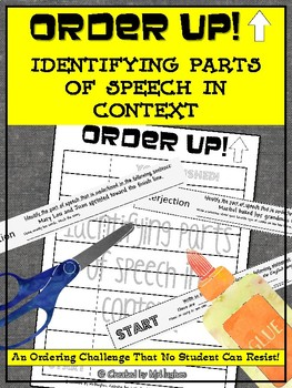 Identifying Parts of Speech in Context - Order Up!- Set 1