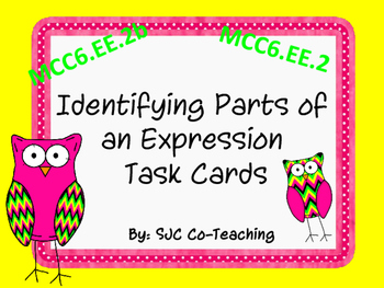 Identifying Parts of an Expression Task Cards