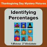 Identifying Percentages - Math Mystery Pictures - Thanksgiving