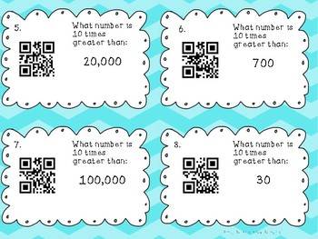 Identifying Place Value QR Codes and Task Cards