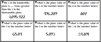 Identifying Place Value Thousands to Thousandths Practice Cards