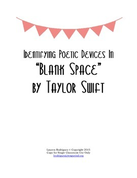 """Identifying Poetic Devices in """"Blank Space"""" by Taylor Swift"""