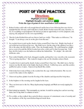 Identifying Point of View Practice worksheets by ...
