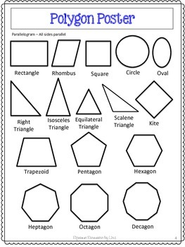 Polygons Unit Pretests Post Tests Posters Cheat Sheets Worksheets
