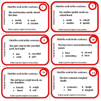 Verbs in a Sentence Task Cards