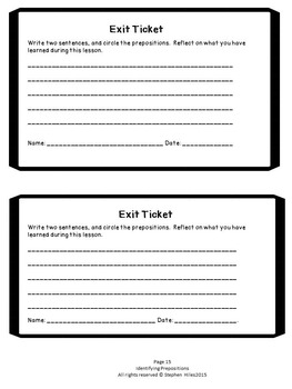 Identifying Prepositions: Task Cards