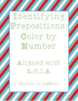 Identifying Prepositions Color by Number