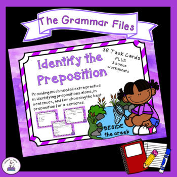 Identifying Prepositions - ELA Task Cards