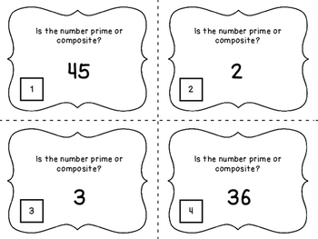 Identifying Prime and Composite Numbers Task Card Bundle
