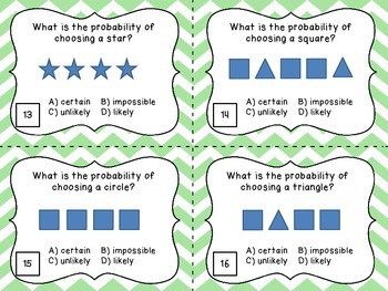 Identifying Probability Task Cards - 20 Task Cards for Practicing Probability
