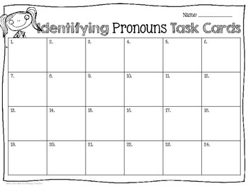 Identifying Pronouns Task Cards FREEBIE