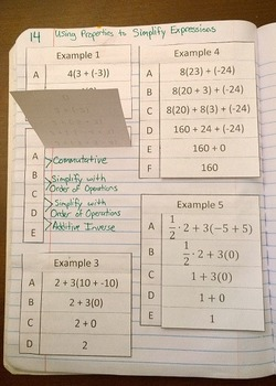 Identifying Properties to Simplify Expressions Foldable Notes