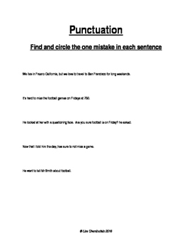 Identifying Punctuation Mistakes