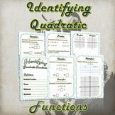 Identifying Quadratic Functions - (Guided Notes and Practice)