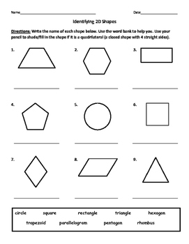 identifying quadrilaterals quadrangles and naming 2d shapes worksheet. Black Bedroom Furniture Sets. Home Design Ideas