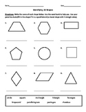Identifying Quadrilaterals/Quadrangles and Naming 2D Shape