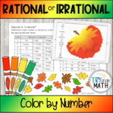 Identifying Rational and Irrational Numbers - Color by Number