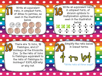 Identifying Ratios & Equivalent Ratios Task Cards CCS 6.RP.1