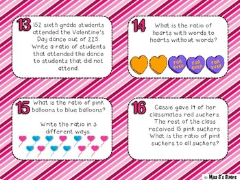 Identifying Ratios Task Cards Valentine's Day Version