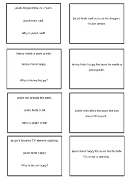 Social Skills for Younger Students Speech Therapy - Reasons for Feelings