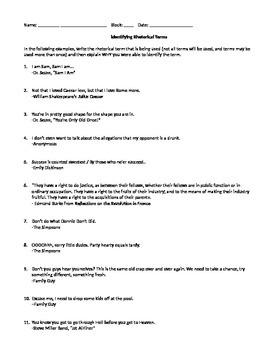 Identifying Rhetorical Terms Quiz with Key