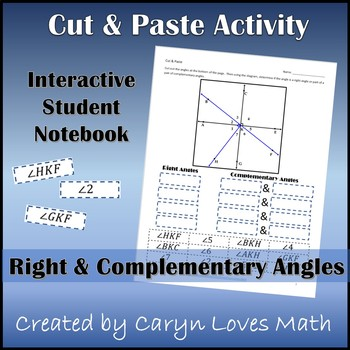 Identifying Right Angles &Complementary Angles~Interactive Student Notebook Page