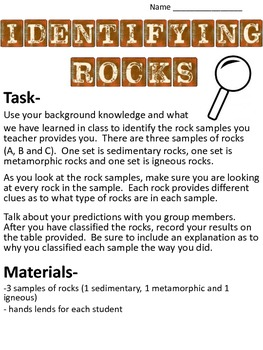 Identifying Rocks Lab