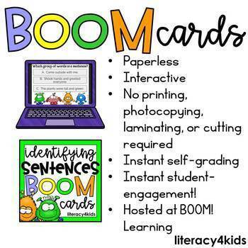 Identifying Sentences Boom Cards (32 digital task cards)