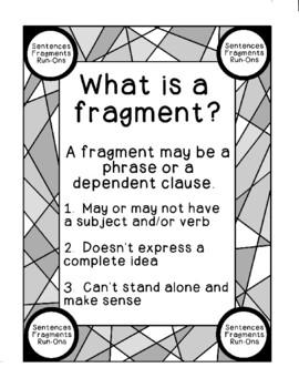 Identifying Sentences Fragments Run-ons Printable Activity Writing