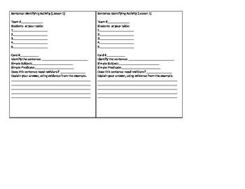 Identifying Sentences Upper Elem. Grammar