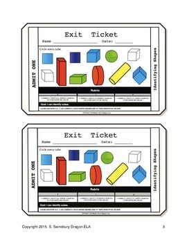 Identifying Shapes Exit Tickets
