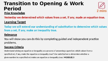 Identifying Solutions to Inequalities 6.EE.5