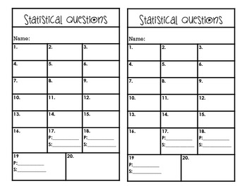 Identifying Statistical Questions Task Cards CCSS 6.SP.1