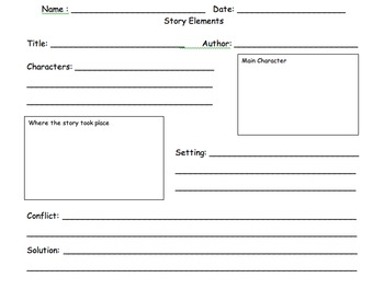 Identifying Story Elements Worksheets & Teaching Resources | TpT