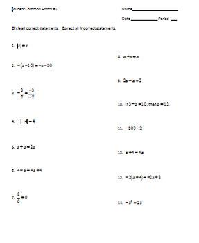 Identifying Student Common Errors
